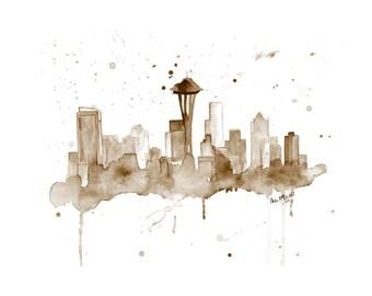 Seattle Skyline Art - Seattle Skyline Painting - Seattle Washington - Cityscape Art Print - Seattle Skyline Print - Seattle Art Skyline Art