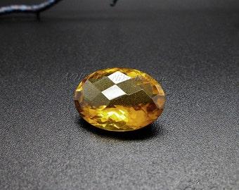 1pcs AAA Natural Cognac Quartz, Oval Checkerboard, Size 14x10mm, Beautiful Gemstone, 10x14mm, Clarity: Eye Clean, Heated, not flat back