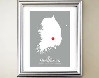 South Korea Custom Vertical Heart Map Art - Personalized names, wedding gift, engagement, anniversary date