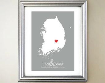 South Korea Custom Vertical Heart Map Art - Personalized names, wedding gift, engagement, anniversary date