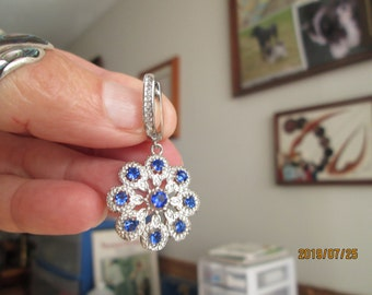 Handcrafted Stunning 2.46ctw Tanzanite & White Sapphire Sterling Silver 925 Flower Dangle Earrings, Lever Back, Wt. 10.5 G
