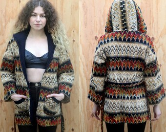 Vintage 1970's Southwestern space dyed hooded jacket sweater S M