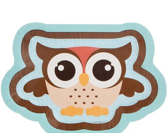 8 Count - Owl - Look Whooo's Having A Baby or Birthday Dinner Plates - Baby Shower or Birthday Party Supplies