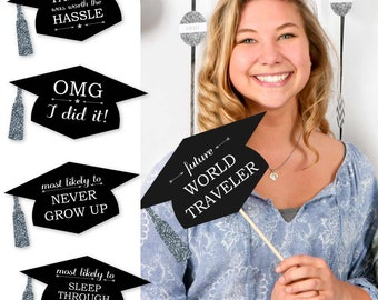 Hilarious Graduation Caps - Silver - Graduation Party Photo Booth Prop Kit - 20 Piece Set