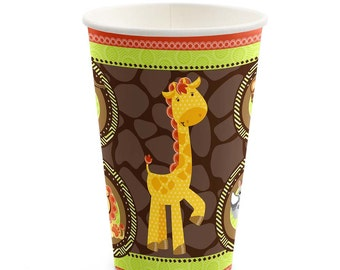 8 Count - Funfari- Safari Jungle Hot/Cold Cups - Baby Shower or Birthday Party Supplies