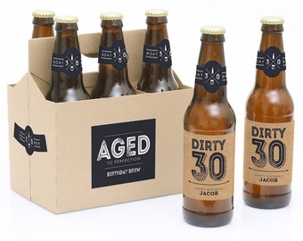 30th Birthday Beer Labels - 6 Beer Bottle Labels & 1 Carrier - Aged to Perfection Funny Birthday Gift - Personalized Milestone Birthday Gift