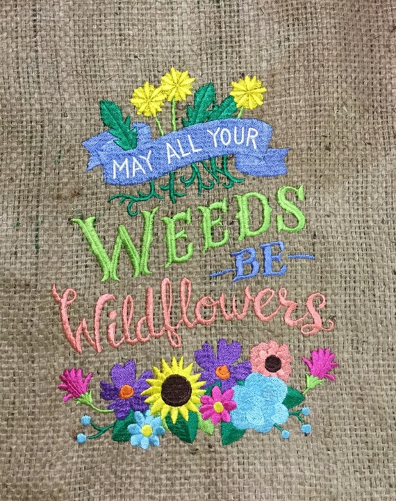 Embroidered burlap garden flag