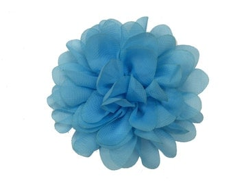 "3.75"" Scallop Hair Flowers, Wholesale Scallop Flower Heads for Flower Head Bands, Lot of 1, 2, 5 or 10, Blue"