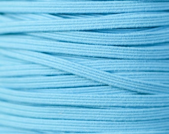 """1/8"""" Skinny Elastic Wholesale, Thin Elastic for DIY Headband Supplies, 1/8 inch Elastic by the Yard, 5 yards or 10 yards Turquoise"""