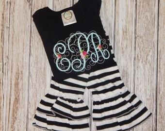 FALL Outfit; Girl's Fall outfit; Girl's Fall shirt; Girl's outfit; Black and White outfit; Girl's personalized shirt; Black Shirt
