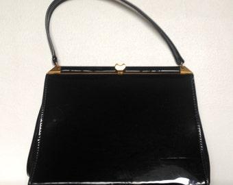 Vintage Black Patent Leather Handbag.1950's/60's.
