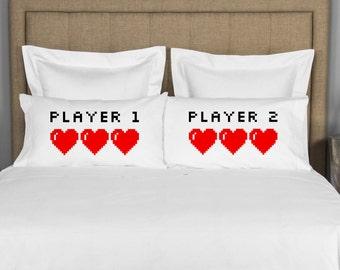 Wedding Gift Couples Pillowcase - Player 1 Player 2 - Wedding Gift; Couples Pillow Case; Geek Nerd Video Gamers 8-bit