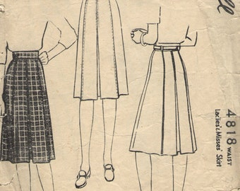 Vintage 1940s McCall Sewing Pattern 4818- Misses' Pleated Skirt waist size 26
