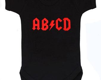 AB/CD Rock Baby Grow - Rock n Roll Black Baby Bodysuit / Rock Baby Gift / Boys or Girls Baby Vest Gift