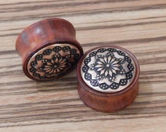 "2g - 7/8"" Rosewood Vintage Floral Pattern Plugs! CHOOSE SIZE"