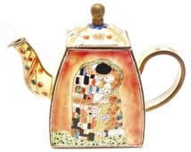 Charlotte di Vita teapot - The Kiss Gustav Klimt - miniature enamel teapot