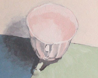 tea cup painting - original still life oil painting - kitchen wall art - cafe art - tea lover gift