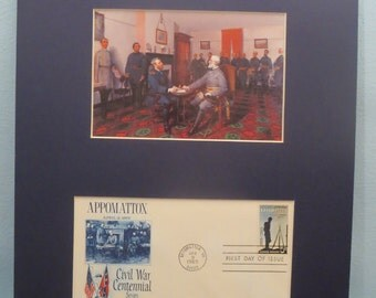 General Grant accepts Robert E. Lee's Surrender at Appomattox & First Day Cover of its own stamp.