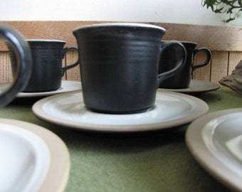 Vintage Franciscan Gourmet Cups and Saucers by Interpace California Pottery 1971 Discontinued Set of Five (5) Black Dinnerware Coffee Sets