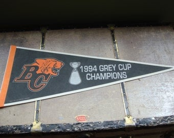 Vintage Souvenir Pennant - BC Lions 1994 Grey Cup Champs  - CFL - Sports Memorabilia - Signed by 2 Players - Full Size - Epsteam