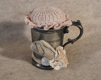 Altered Art Up-Cycled Pincushion with Vintage Silver Cup, Crocheted Doily and Vintage Trims