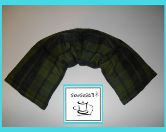Microwavable Heating Pad, Neck Warmer, Rice Heating Pad, Flax Seed, Green Blue Plaid, Sunny Heat Pack