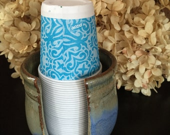 Dixie Cup Dispenser Bathroom Cup Holder Disposable Cup Dispenser Paper Cup Holder in Soft Blue and Cappuccino Brown