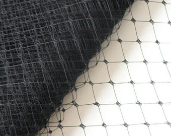 Large Window Spot Millinery Net // Birdcage Veiling // Wedding Fascinator // Merry Widow // 1 meter - Black