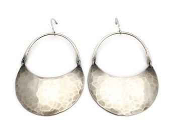 Large Silver Crescent Moon Hoops with Hammered Texture>>> Sterling Silver Dangle Earrings >>> Organic Soft Hammered Texture, Curved Design