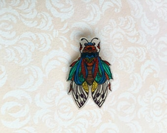 Hand Drawn and Coloured Bug/Insect, Shrink Plastic Brooch, One of a Kind Brooch - Ready to Ship