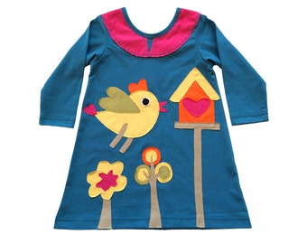 Birdhouse Dress in Teal & Pink
