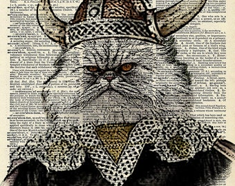 Viking Cat art print.  Vintage book page art print.  Print on book page.