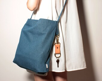 Denim tote bag / Daily bag / Shoulder bag / Cross body bag / 1 Day 1 Bag / Navy blue