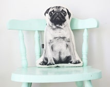 Pug dog shaped cushion / pillow - screenprinted in black / monochrome