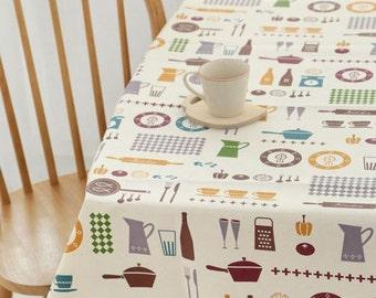 Laminated Scandinavian Style Kitchen Pattern Cotton Fabric by Yard