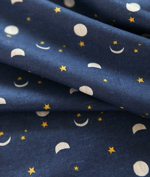 moon and star pattern cotton fabric by yard