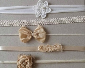 RTS Set of 5 tie backs in creams and whites/ headbands set for newborn and sitter, photo prop
