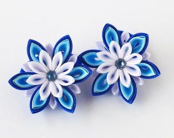 Blue star flowers. Set of 2 ponytail holders. Kanzashi. Blue, white, ultramarine