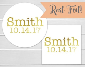 Wedding Stickers, Gold Foil Name Stickers, Gold Foil on White Envelope Seals, Wedding Favor Stickers (#128-F)