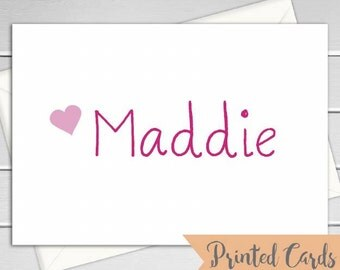 Name Note Cards Folded - 6pk, Personalized Folded Cards with Envelopes (NC9F)