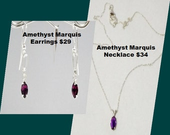 Amethyst Marquis Necklace and Earring Set