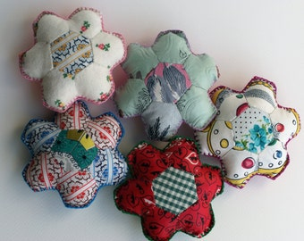 Hexagonal Flower pincushion made with vintage paper-pieced patchwork