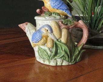 Adorable VintageGlazed Ceramic Tea Pot With Blue Birds