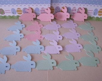 24 pastel die cut bunnies, die cut bunnies, die cut rabbits, die cuts, easter bunny die cuts,paper bunny die cuts, paper bunnies