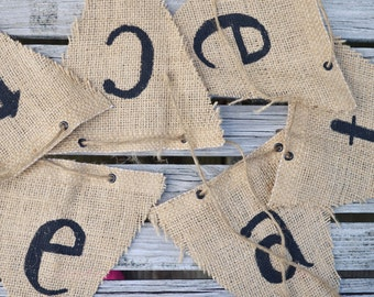Bunting Flag, Burlap Flag, Burlap Banner, Office Decor, Pennant Flag, Craft Room Decor, Inspirational Decor