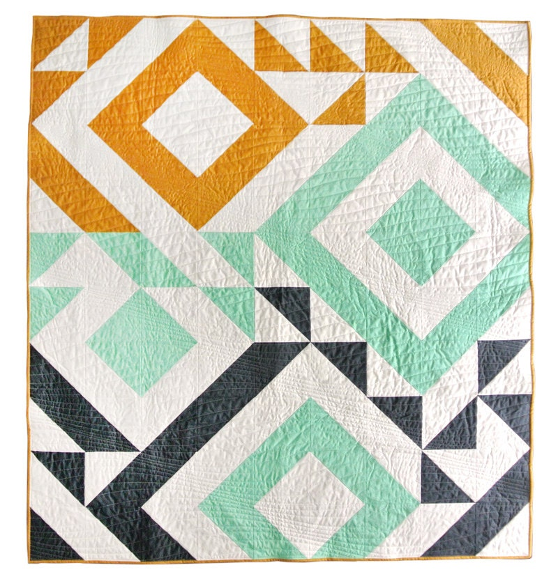 Modern Quilt Patterns Free Download : Triangle Jitters Quilt Pattern PDF Download - DIY Sewing for Beginners Original Modern Quilting ...