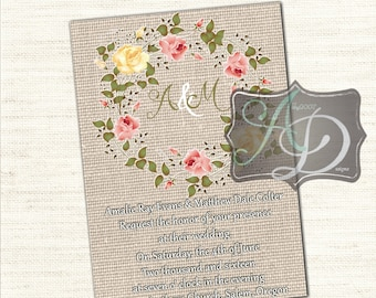 Floral Frame Wedding or Special Occasion card with monograms we personalize you print 300dpi