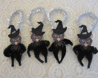 Miniature Black Cat Halloween Bump Chenille ornaments
