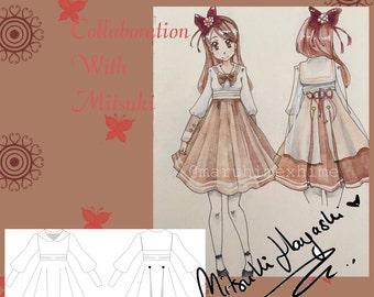 lolita Dress sewing pattern, sailor lolita, lolita dress, tea party dress size 38-42 PDF SP EN download