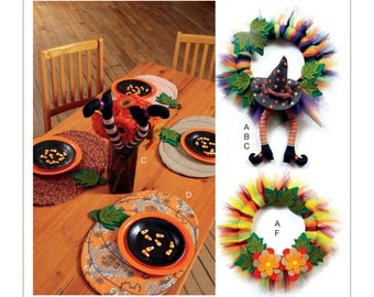 McCall's Pattern M7490 Pumpkin Placemats/Table Runner, Witch Hat/Legs, and Wreaths